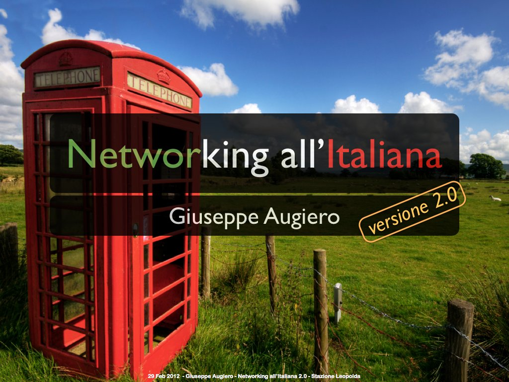 "Slide: ""Networking all'Italiana 2.0"""