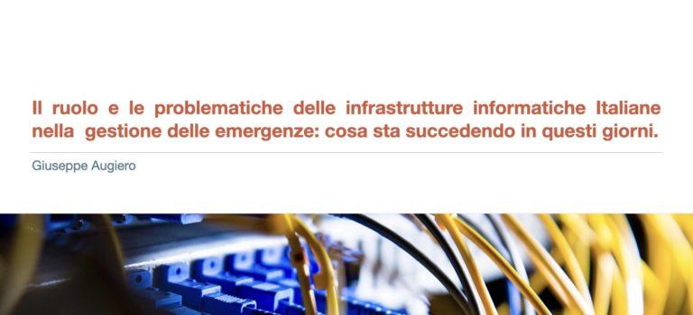 Slide della tavola rotonda sulla gestione delle piattaforme informatiche in situazioni di particolare emergenza